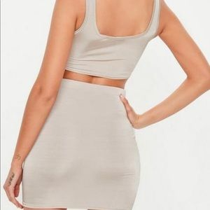 Misguided Silver Skirt Set